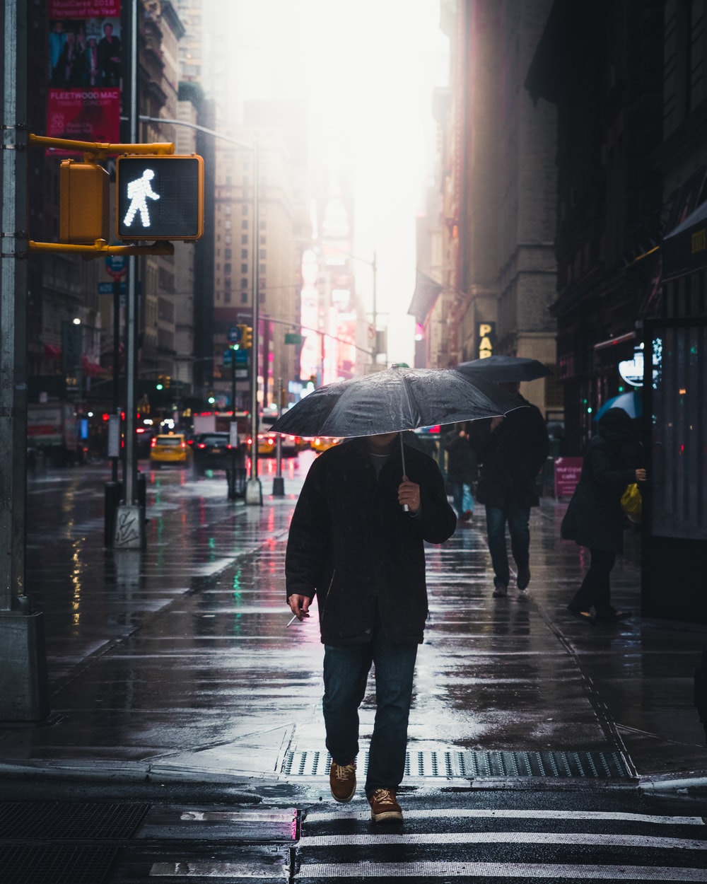 person walking on street during rainy day
