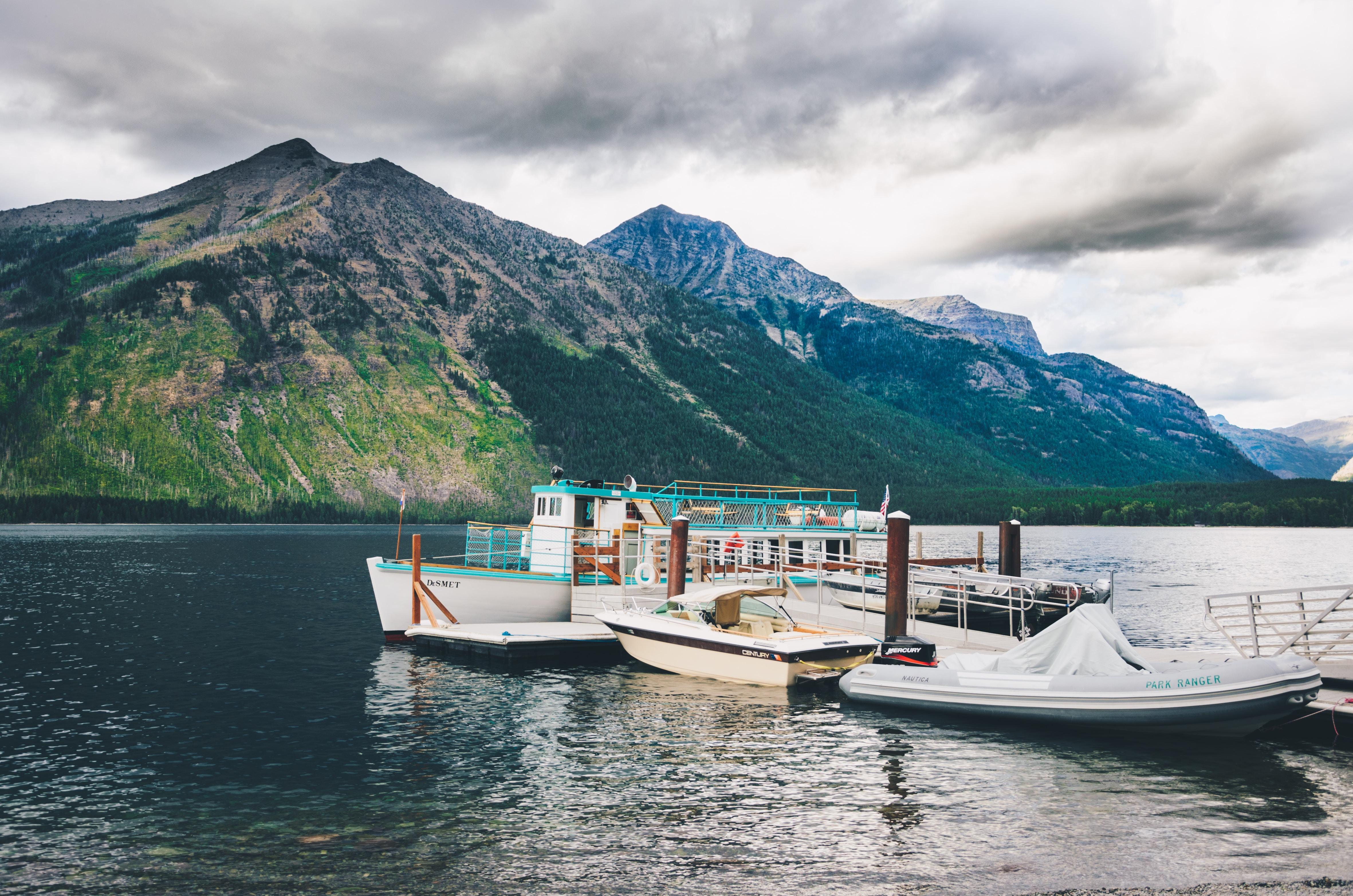 white motorboard docking on body of water