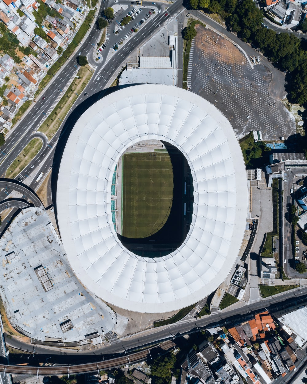 aerial photography of soccer stadium