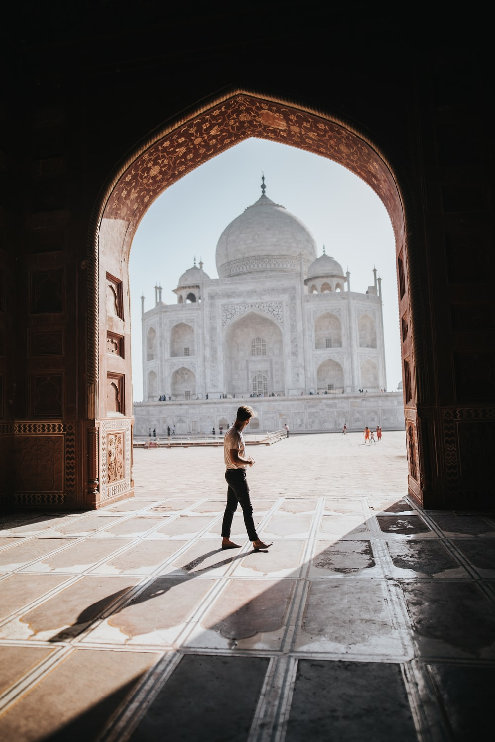 person standing inside building overlooking Taj Mahal at daytime