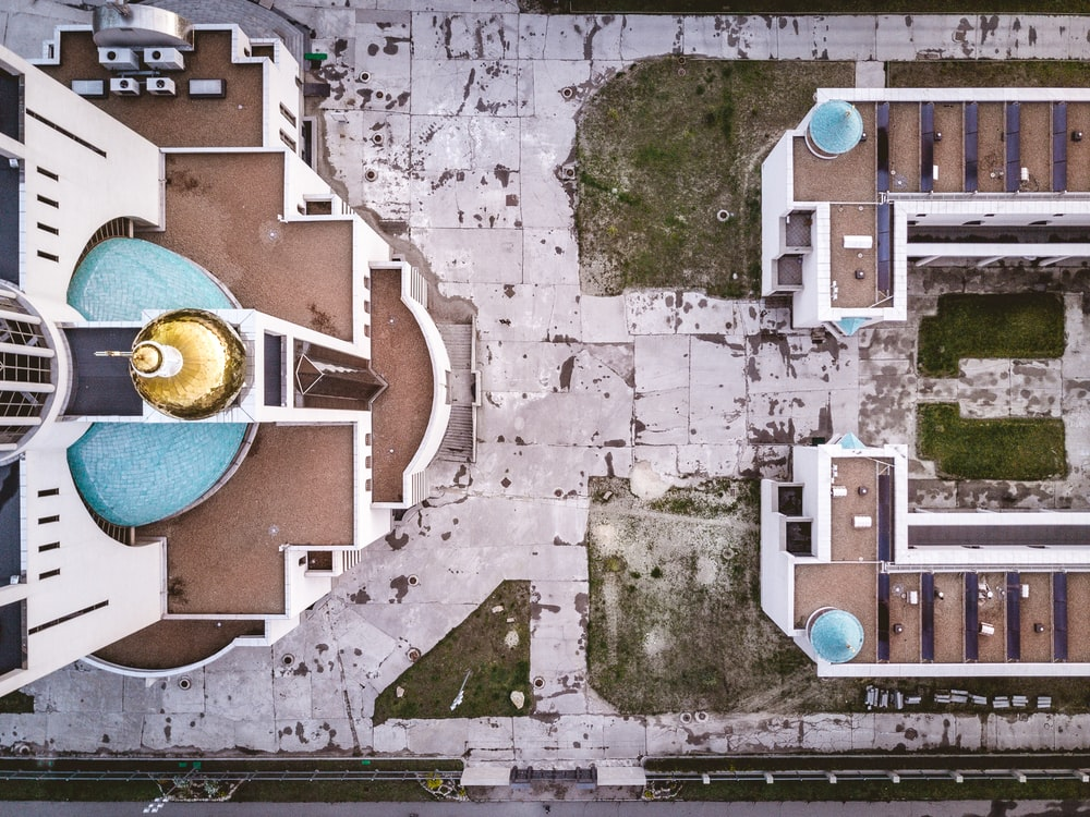 top view photo of brown and white concrete cathedral