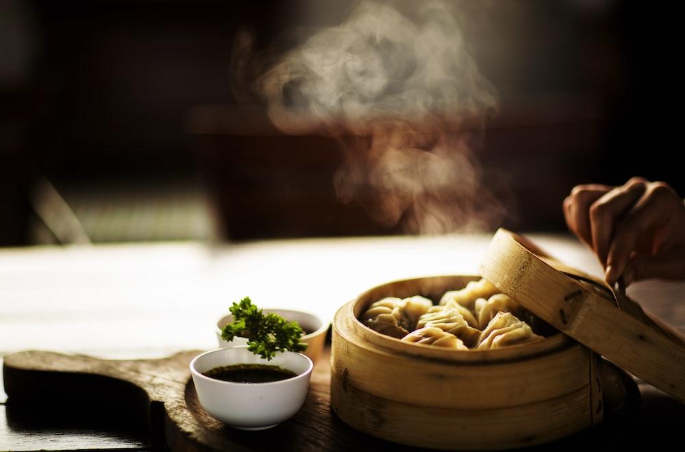 steamed dumplings on steamer