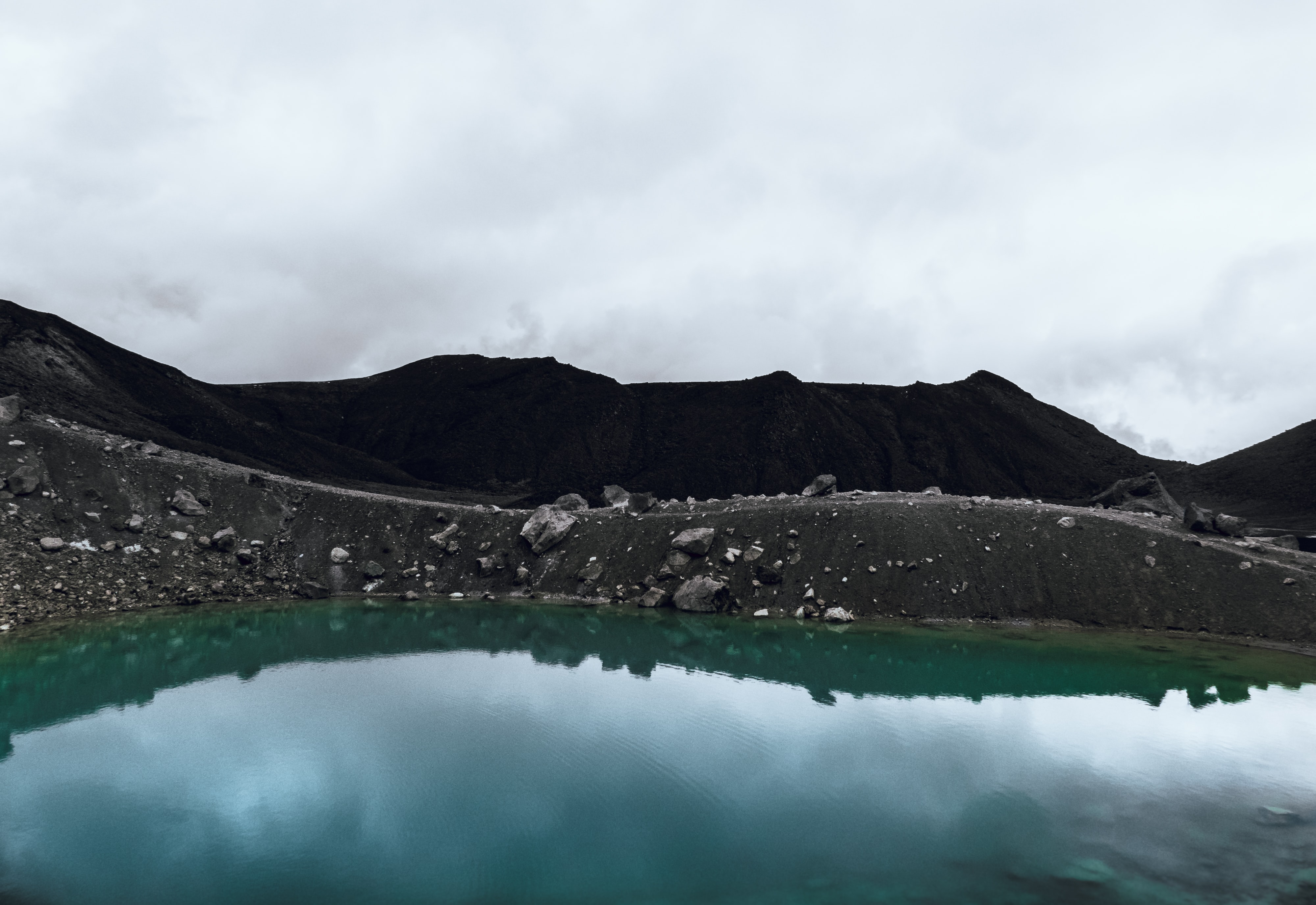 lake surrounded with mountains under cloudy sky
