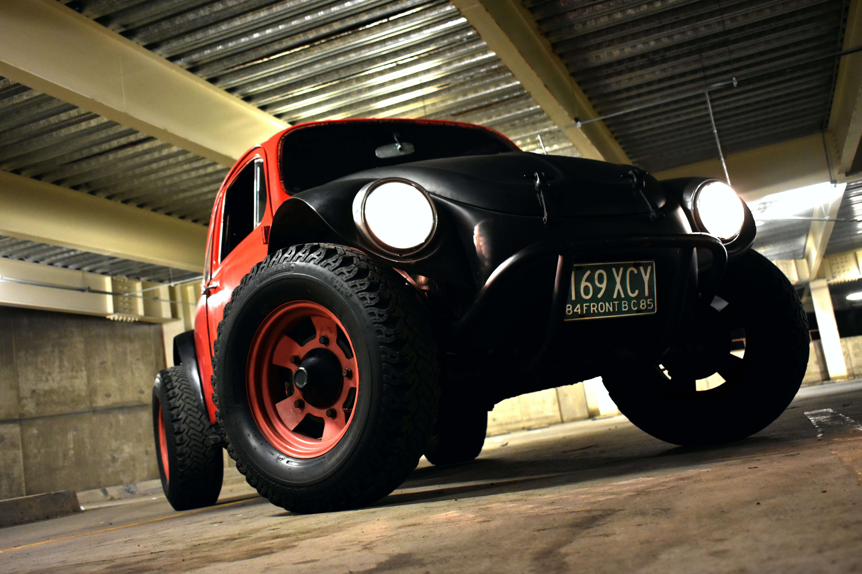 black and orange vehicle