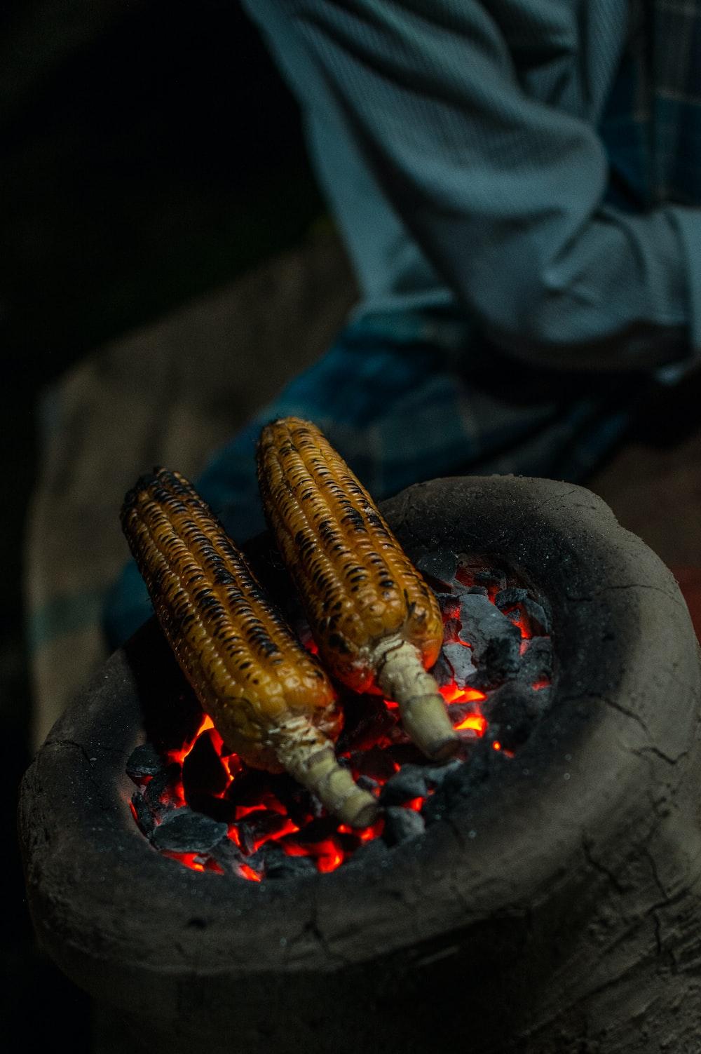 sweetcorn on charcoal