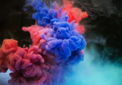 red and blue smoke bombs