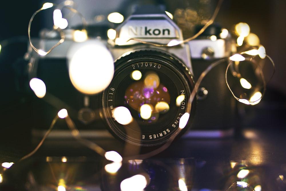 bokeh photography of Nikon DSLR camera