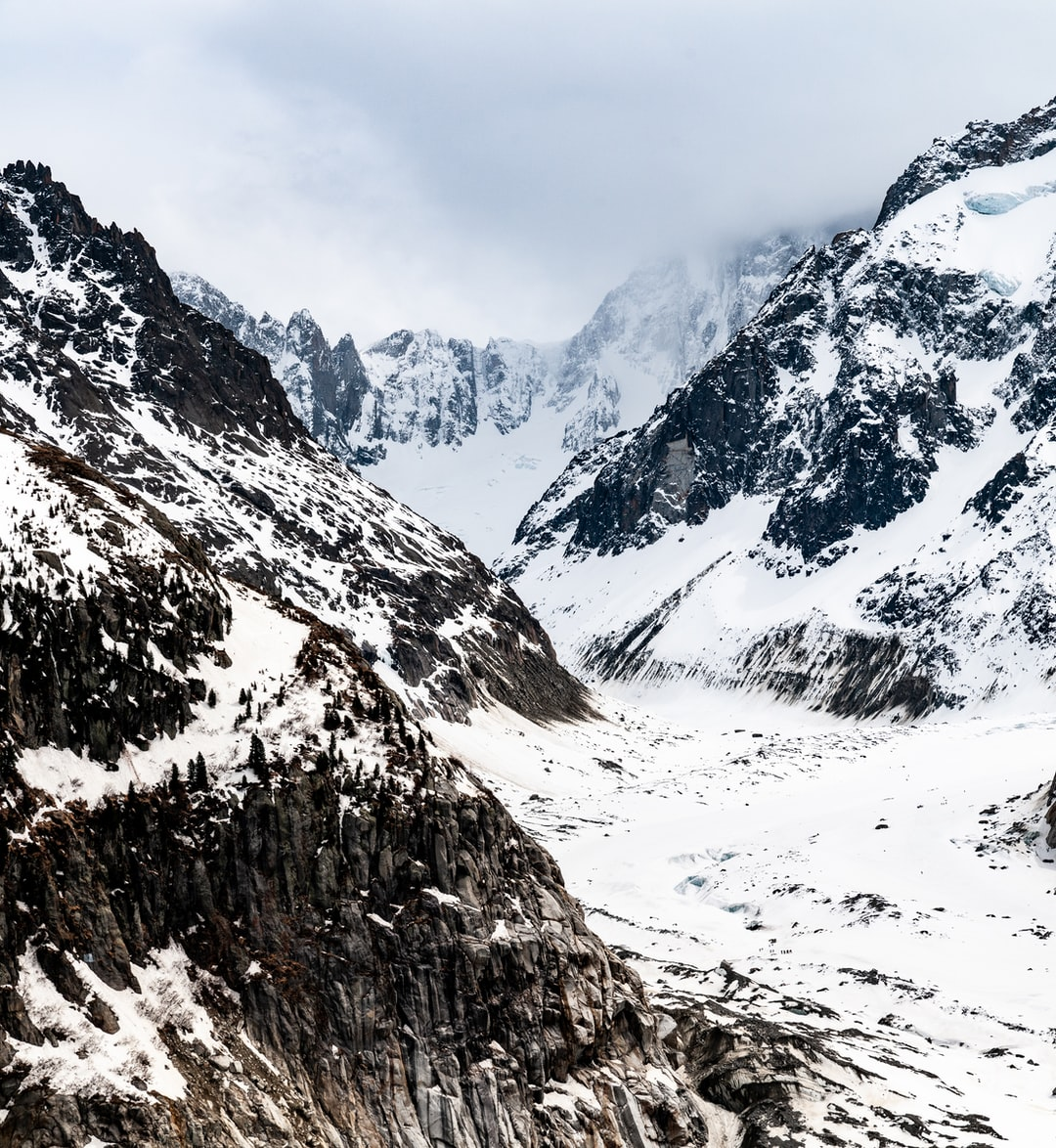 A moody view up the valee blanche from Montenvers