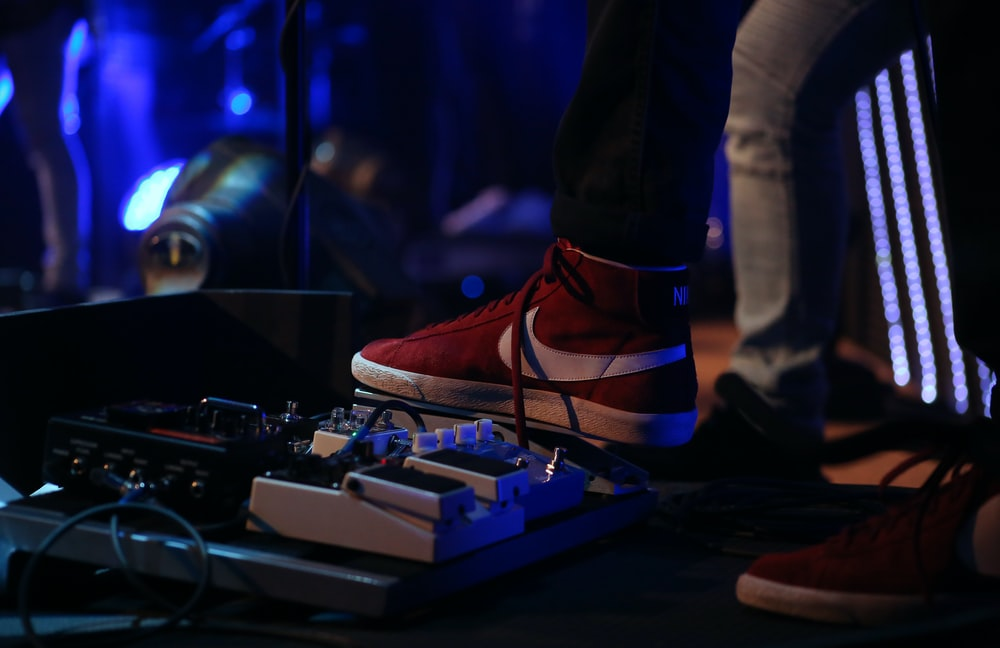 man stepping on pedal effects
