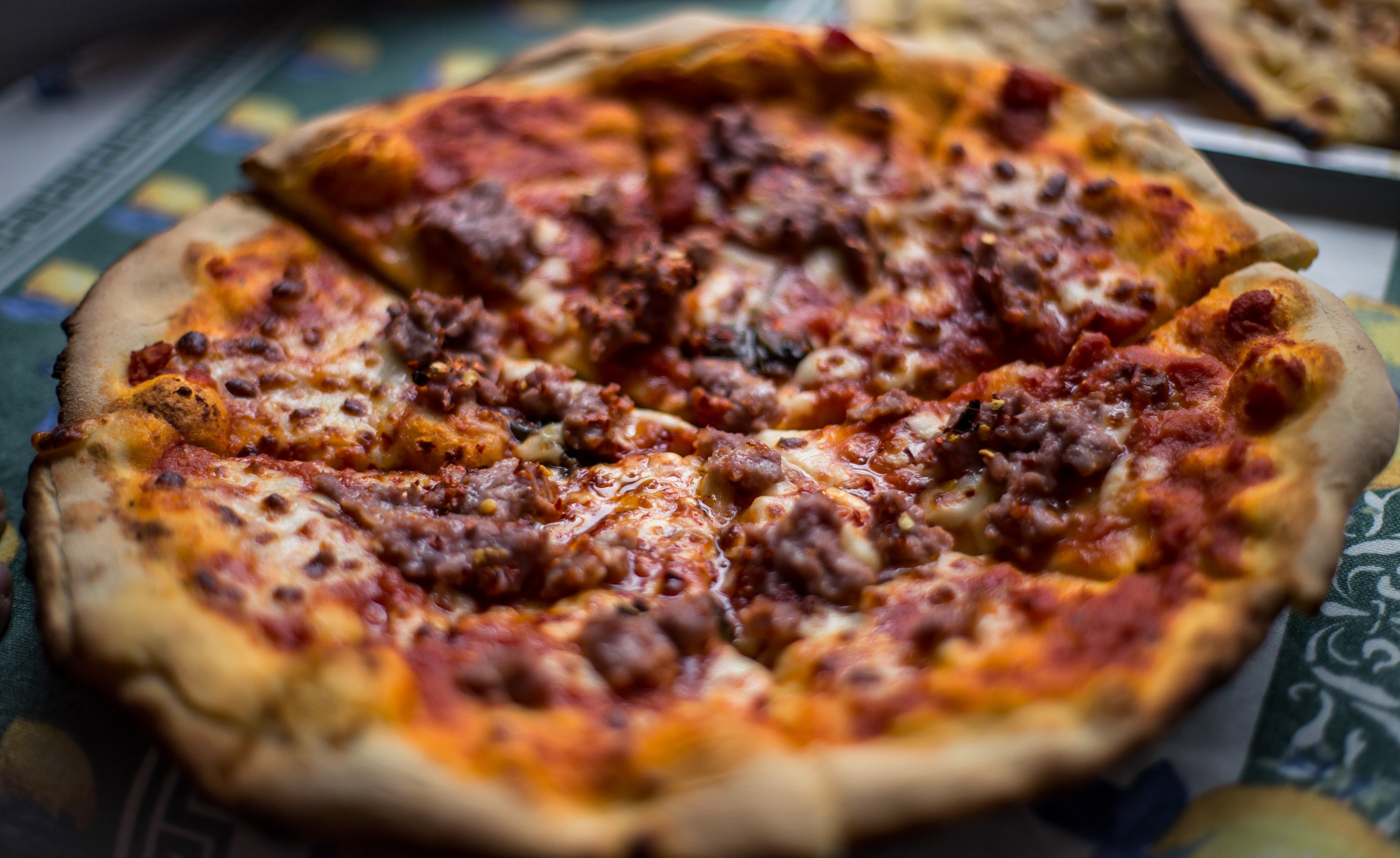 pizza with meat toppings