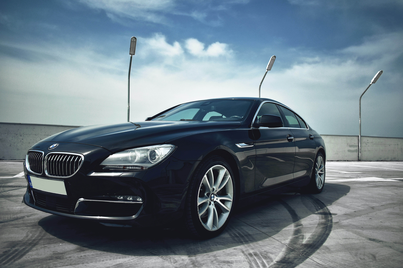 black BMW sedan