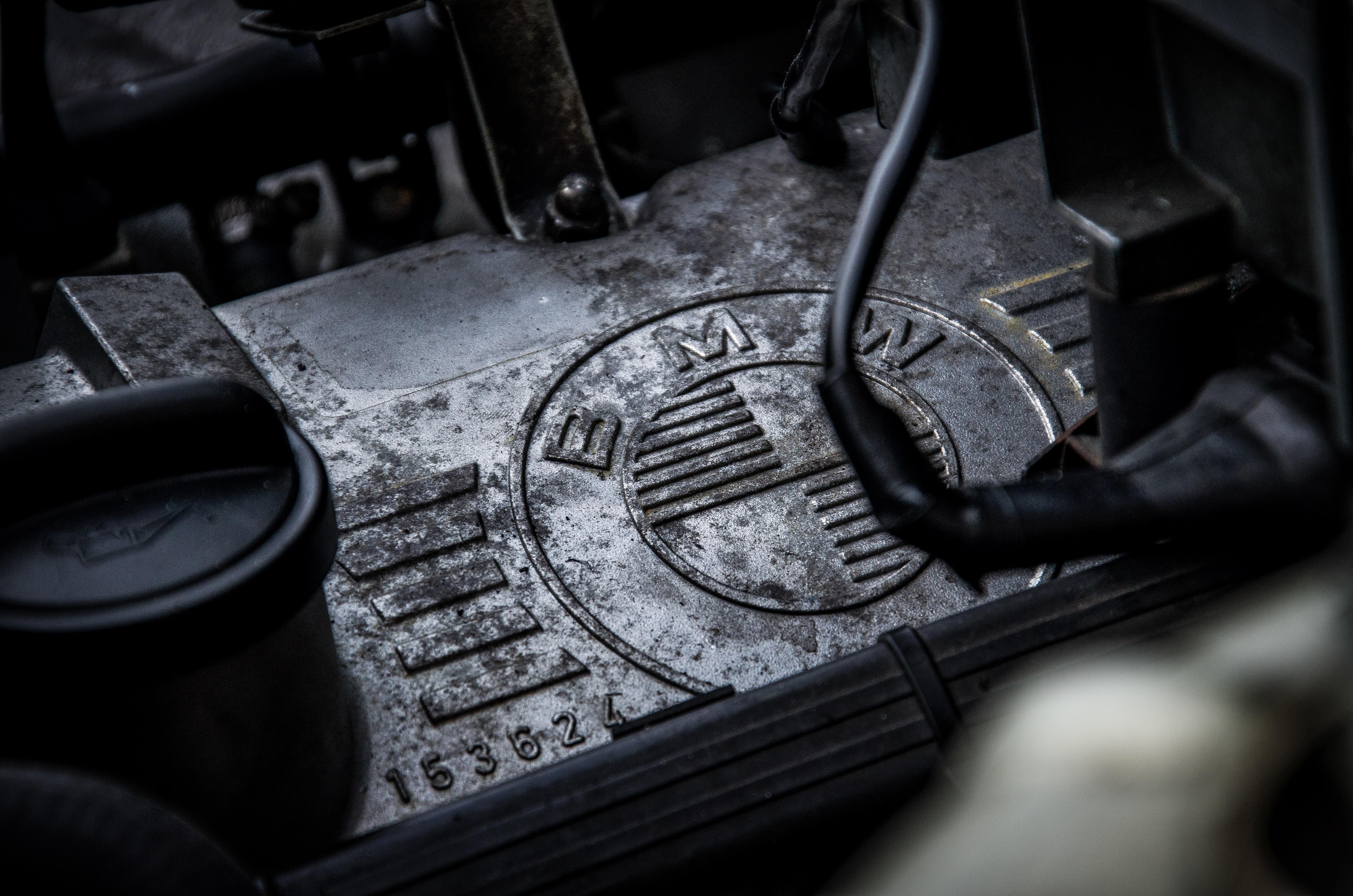 closeup of black BMW engine
