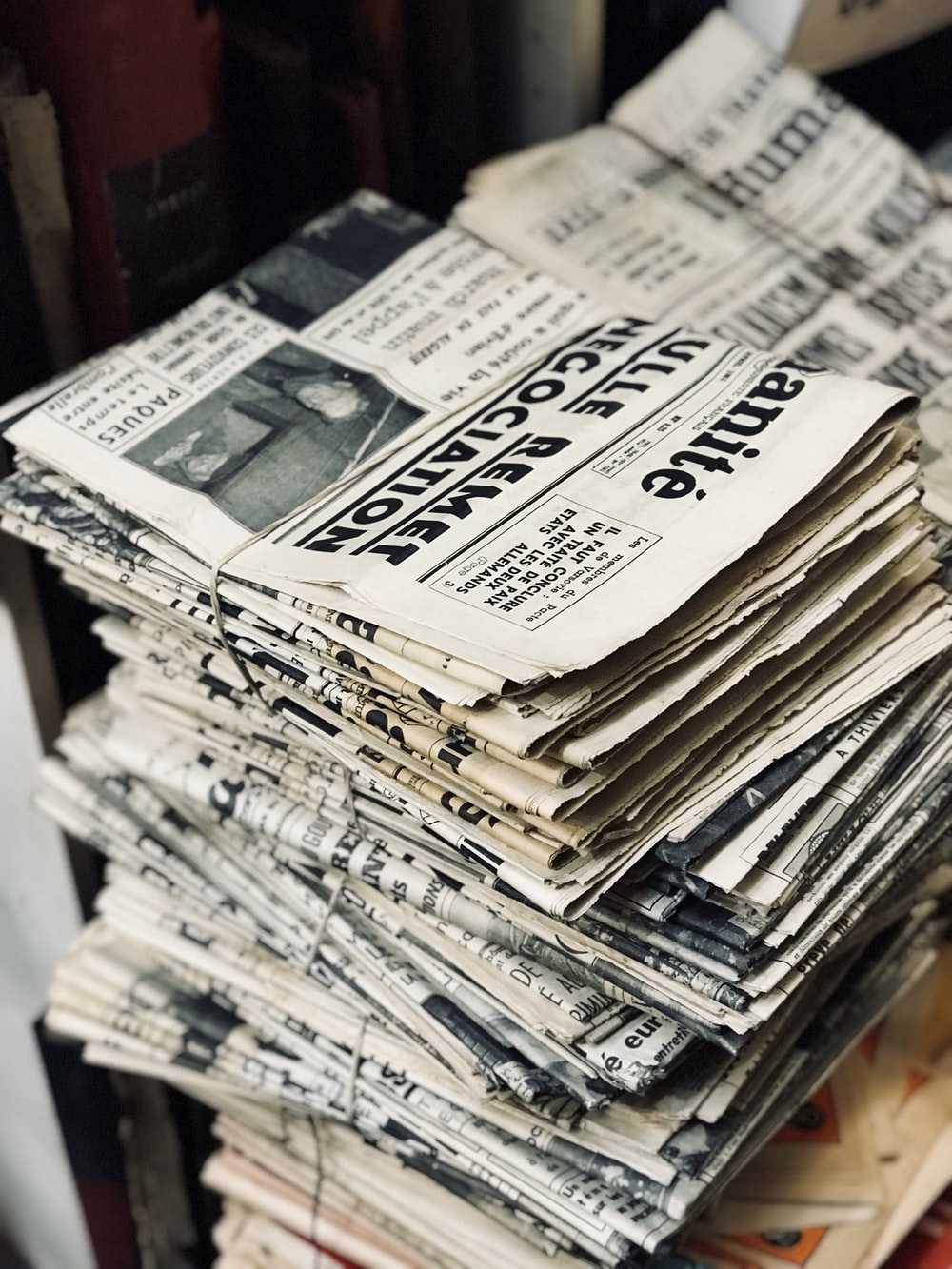 bundle of newspaper on table