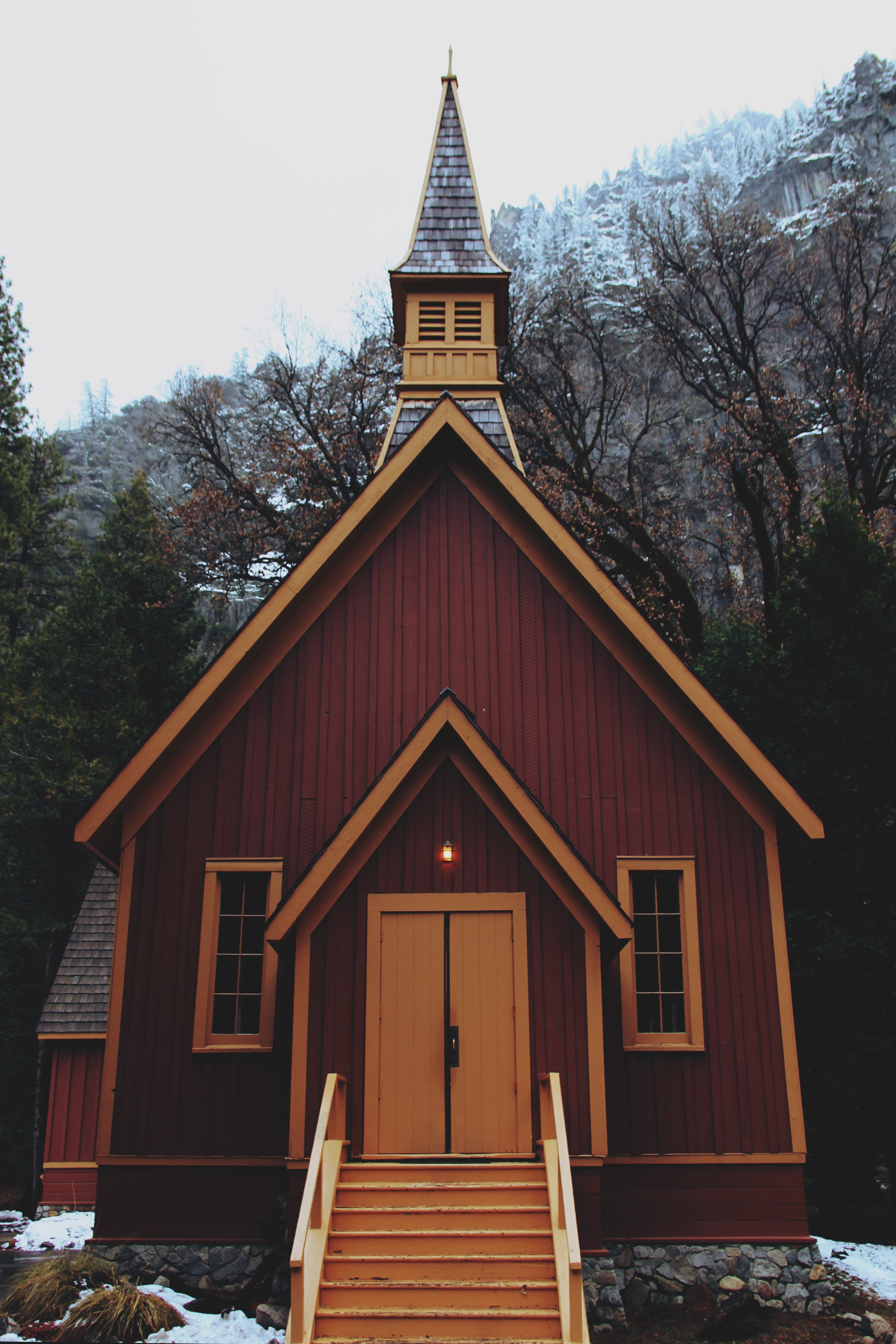 orange and red wooden chapel
