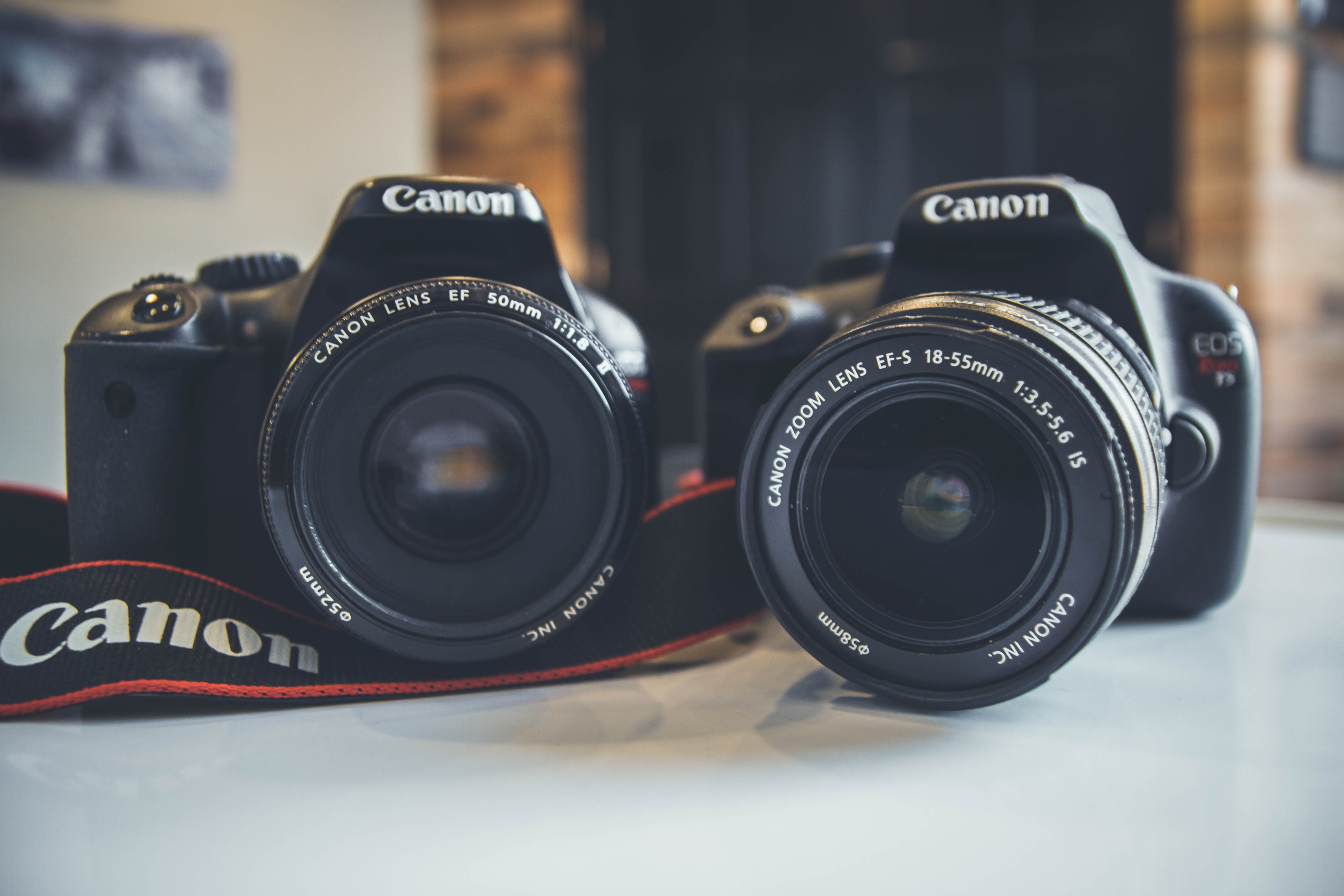 two Canon DSLR cameras side by side