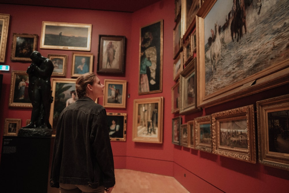 closeup photo of painting collection