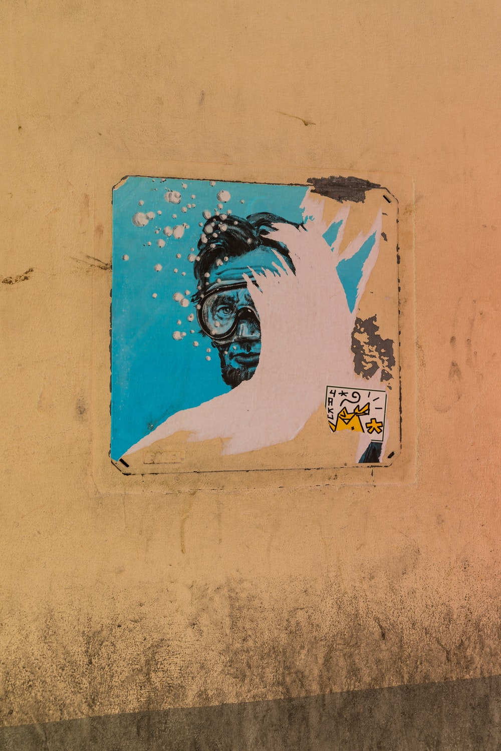 man with swimming goggles sticker