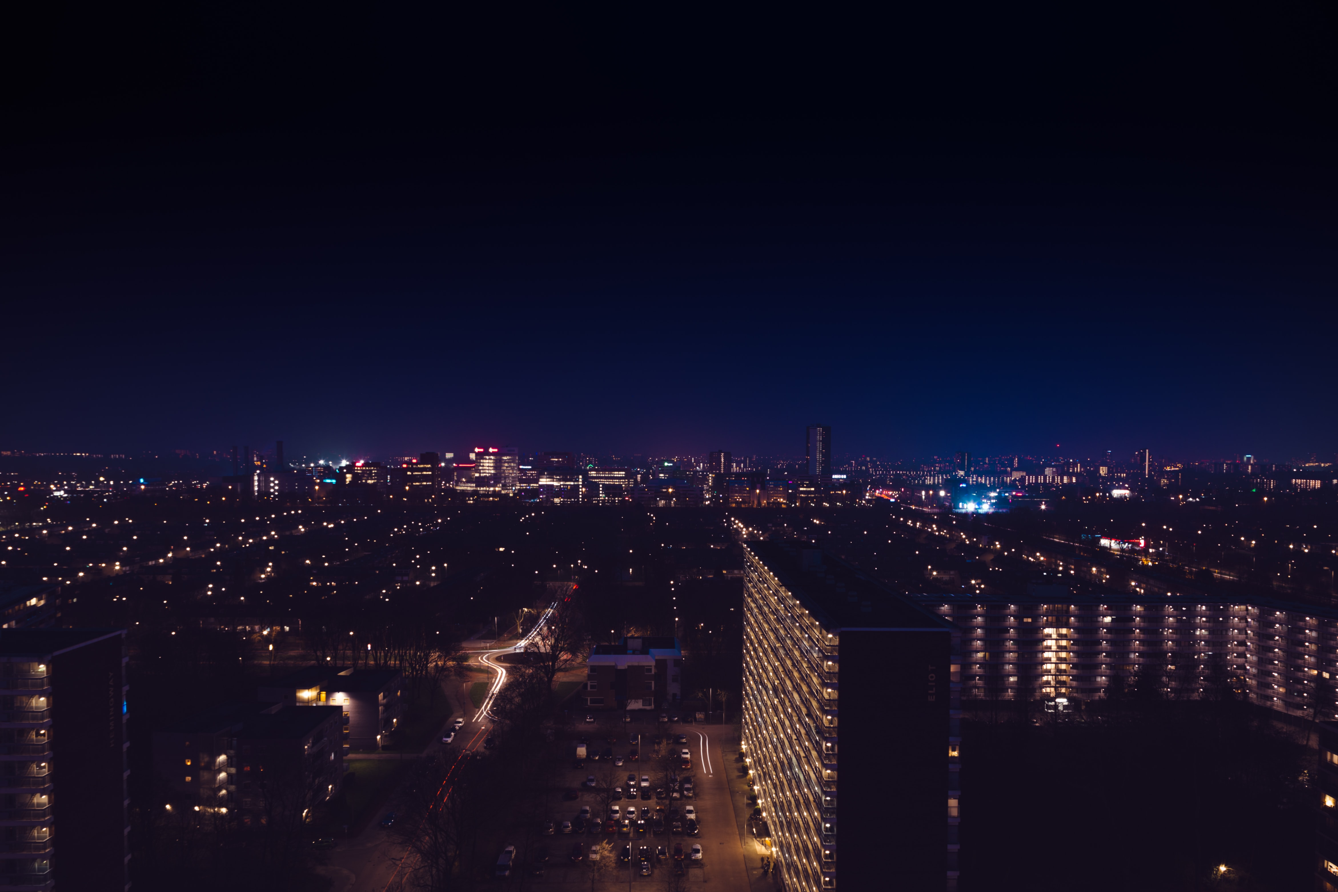 architechtural photography of city sky at night