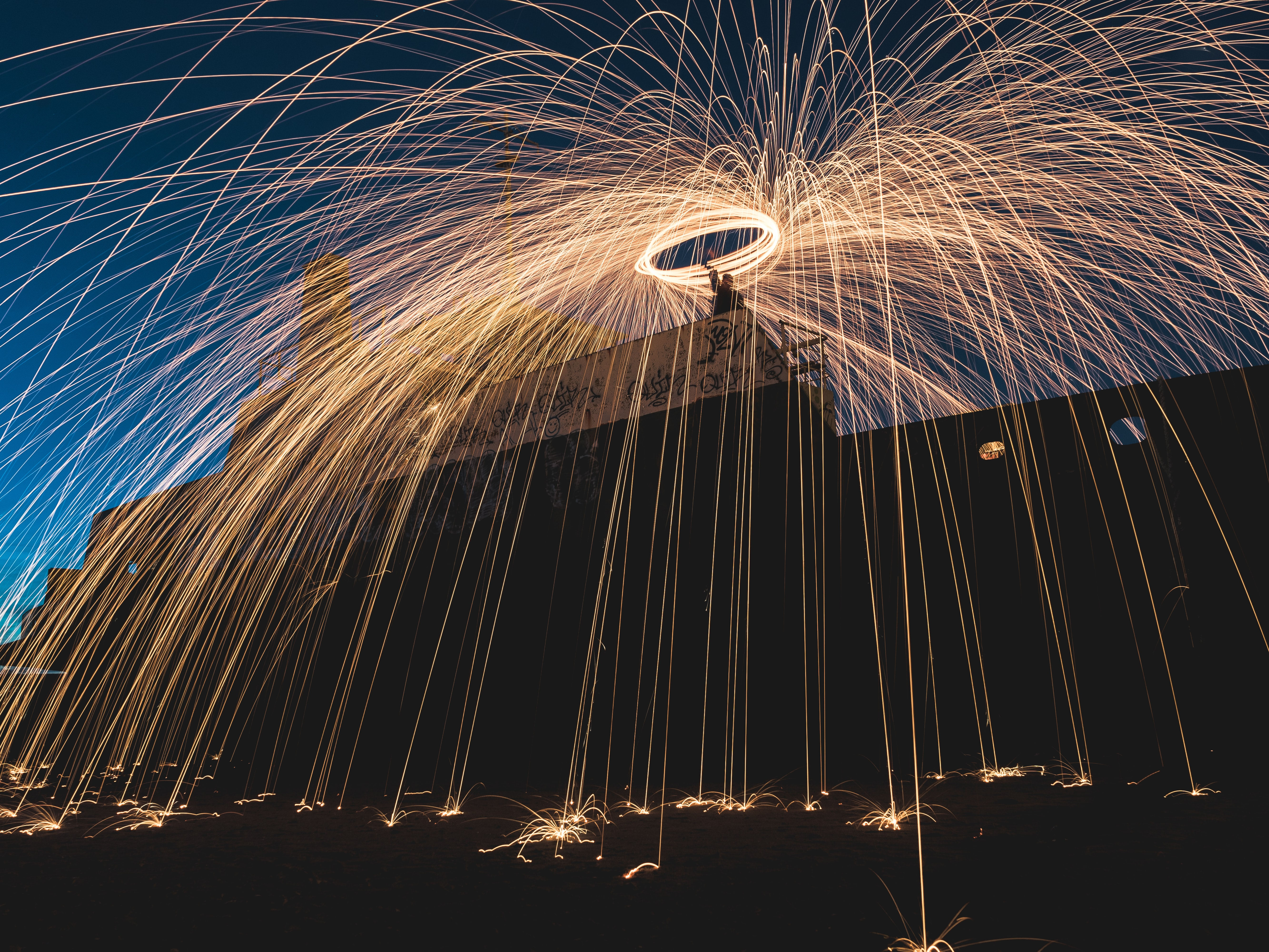 steel wool photography of man