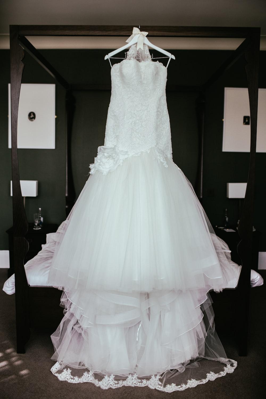 white wedding dress long
