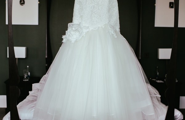 women's white floral wedding dress