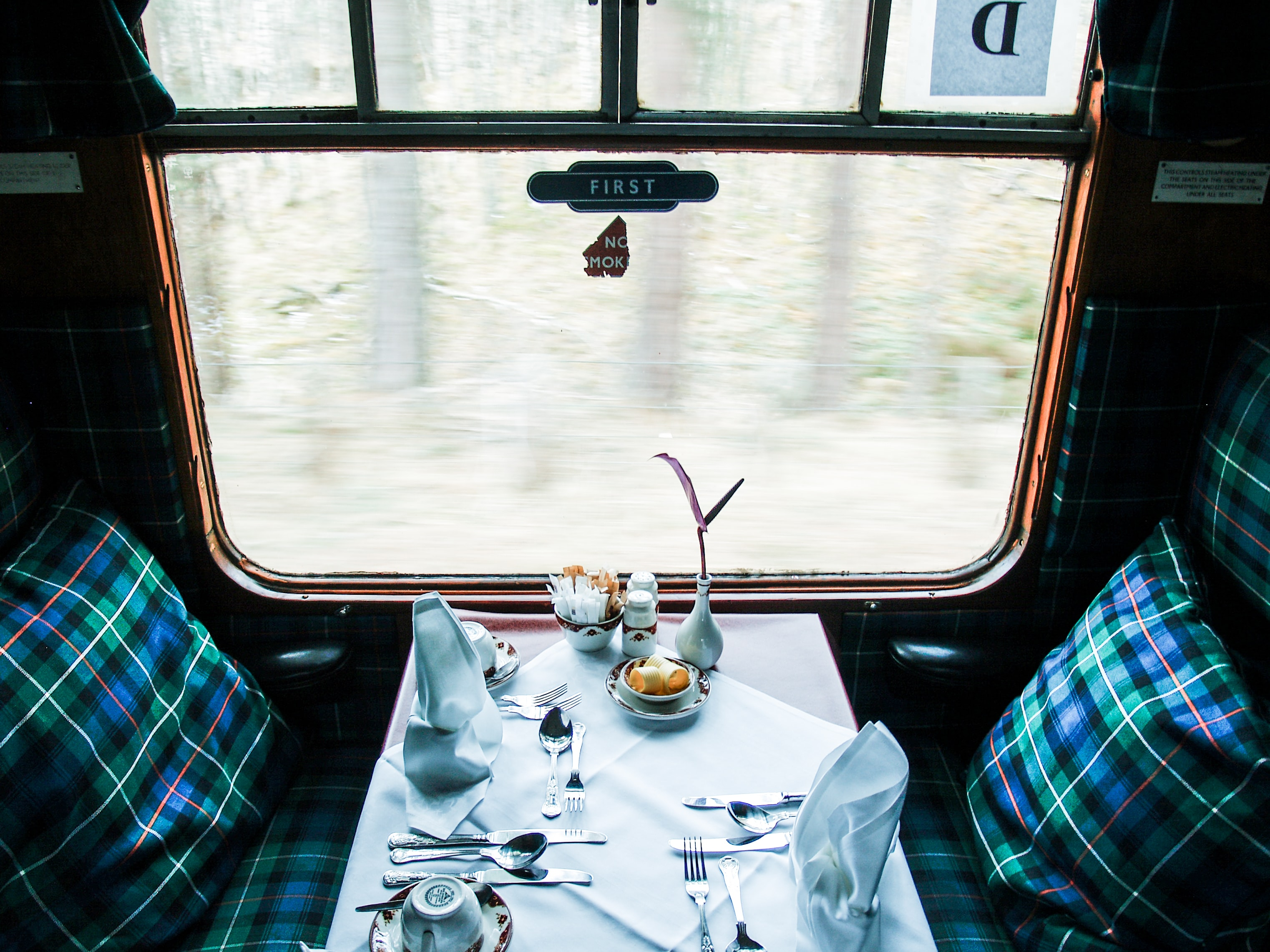 fine dining inside train