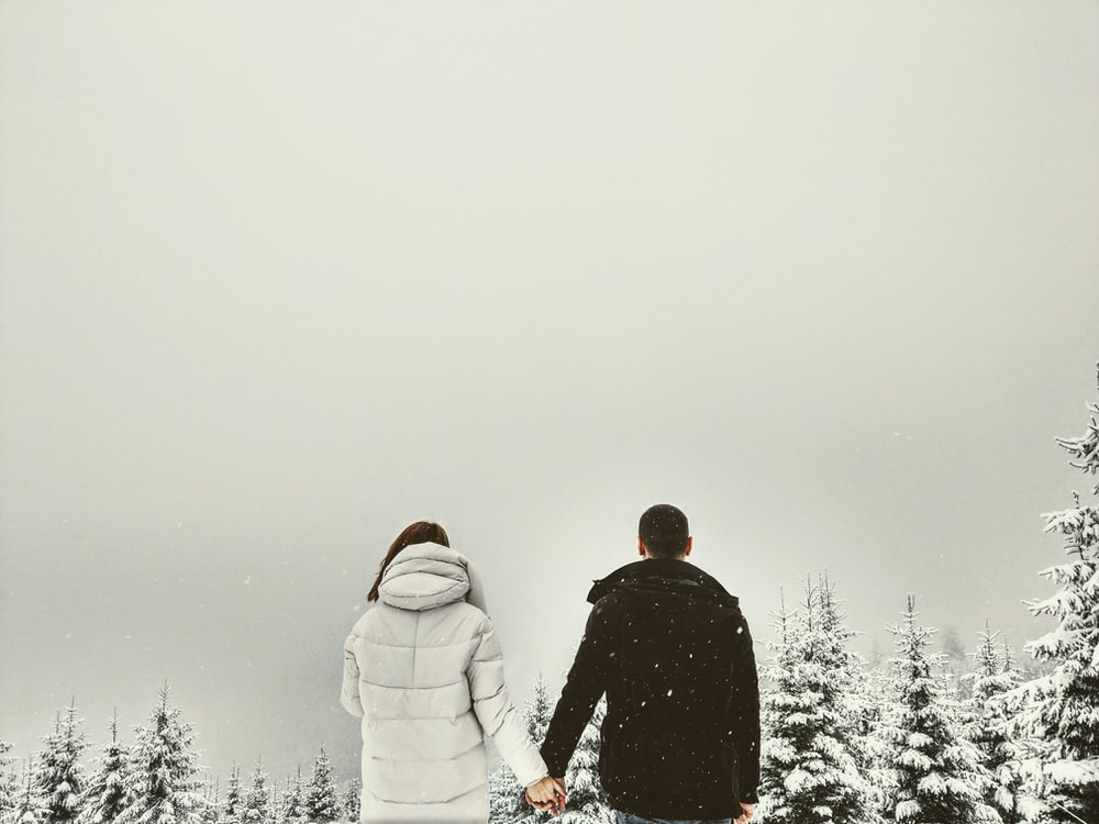couple holding hands in front of trees