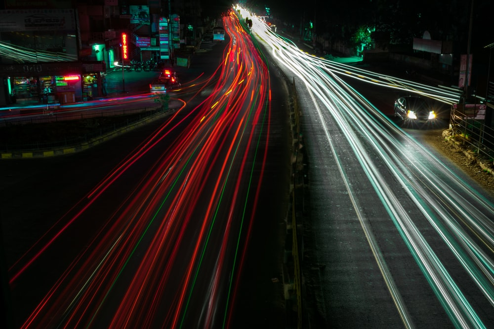 time lapse photography of street road