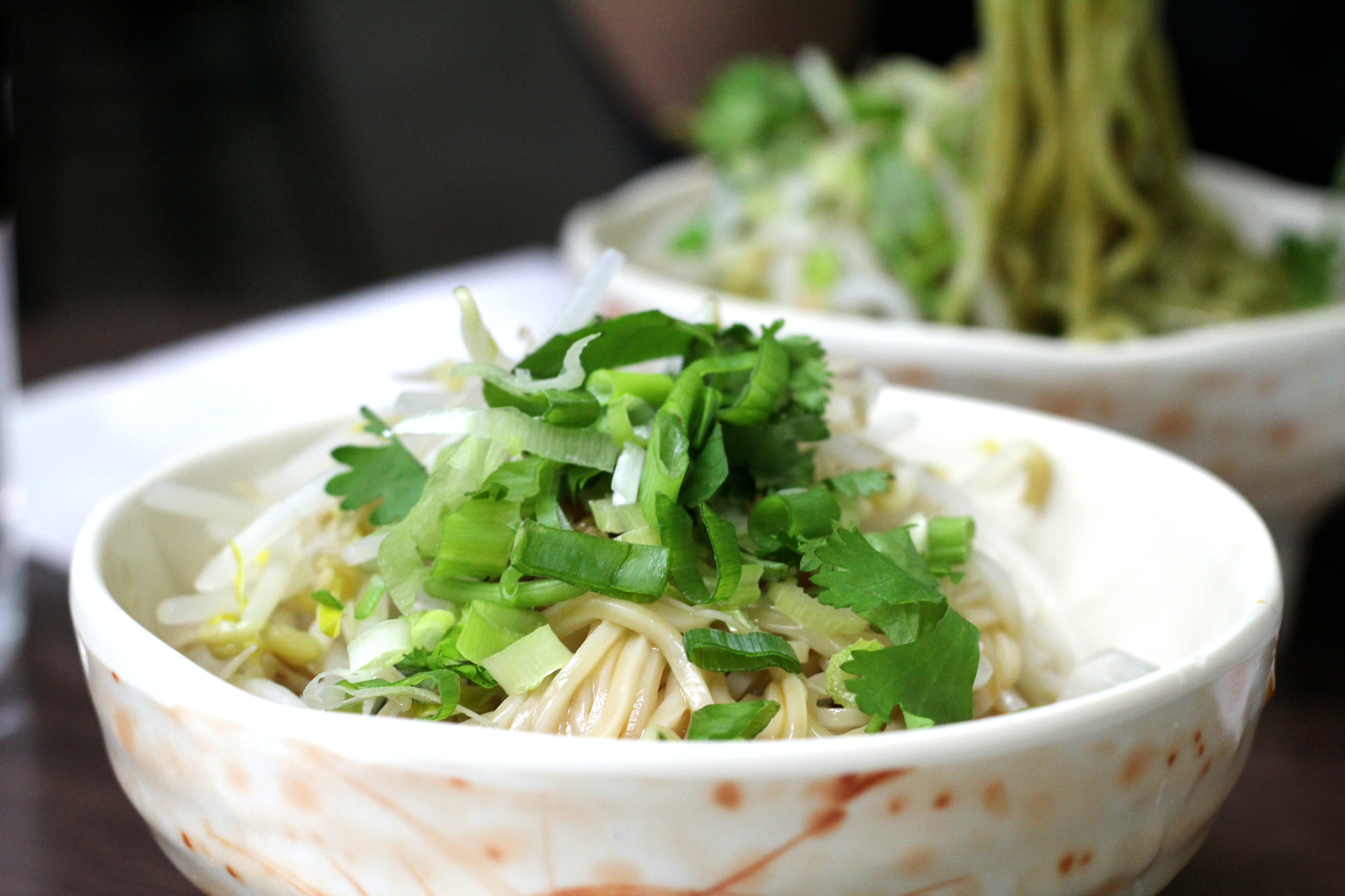 cooked pasta with green veggies