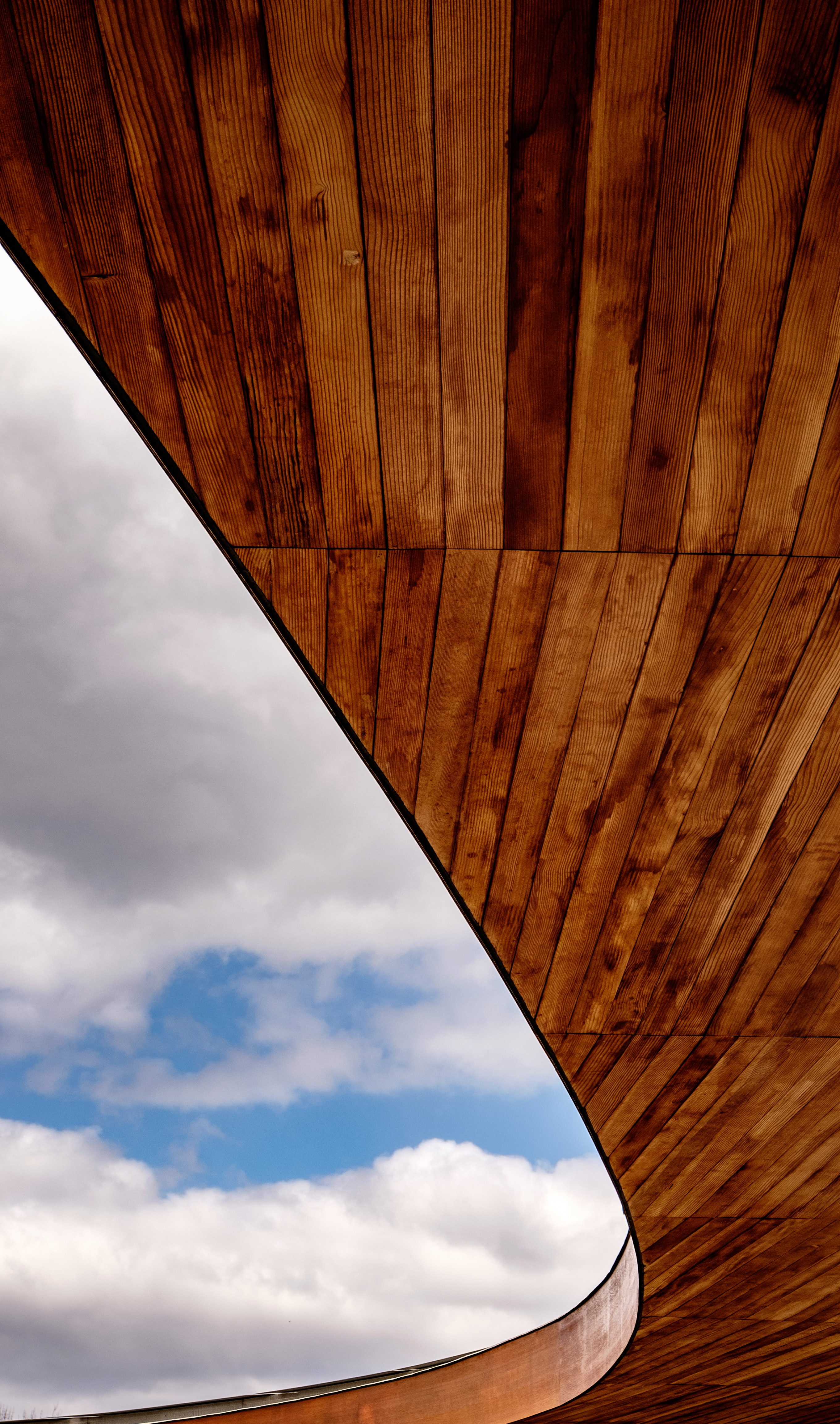 brown parquet wood under the cloudy sky