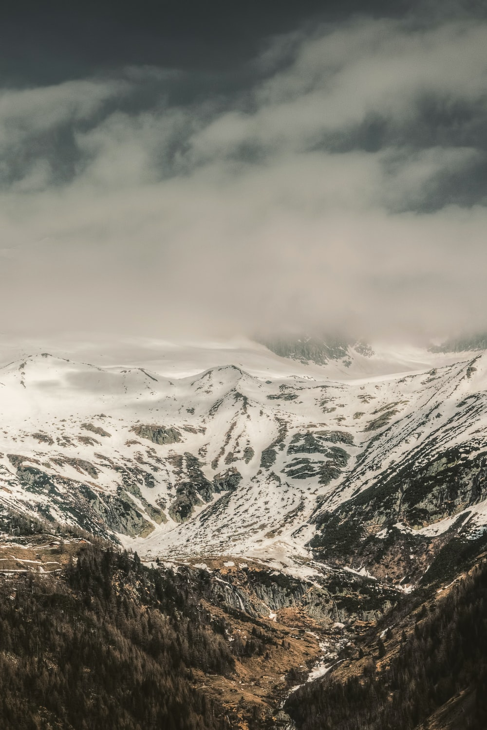 mountain range covered by snow