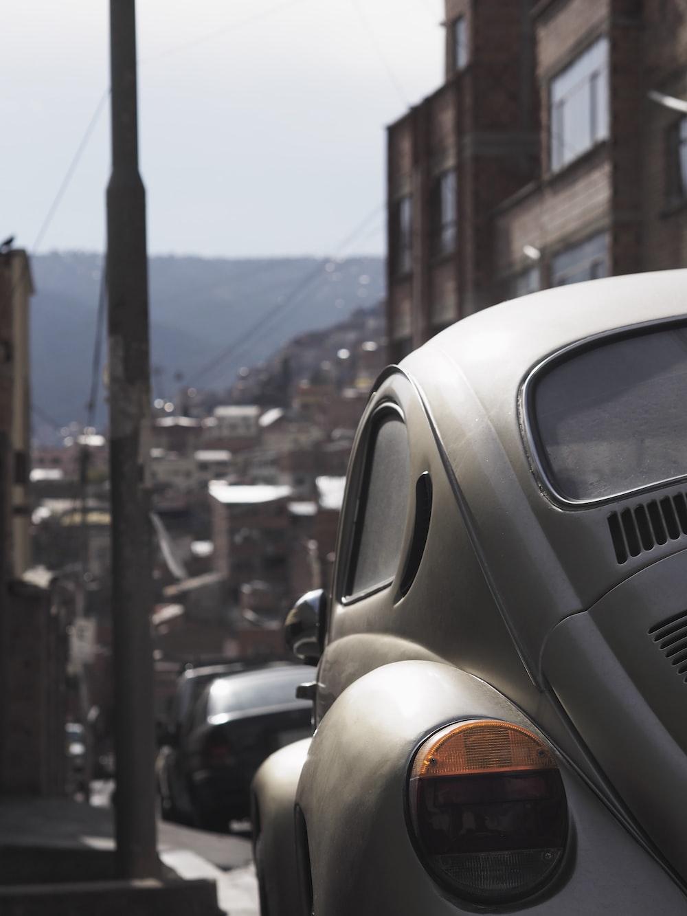 white Volkswagen Beetle Type 1