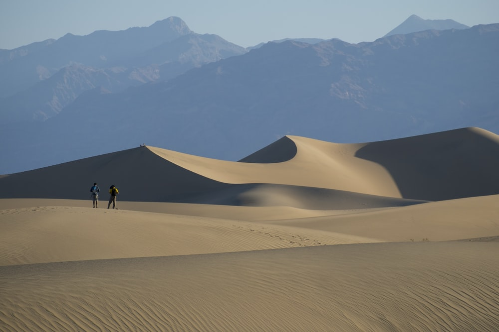 person in the middle of sand dunes