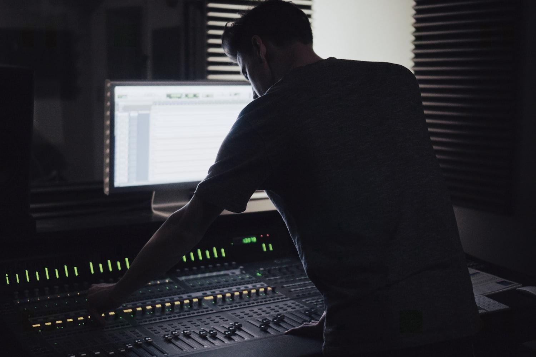 man editing