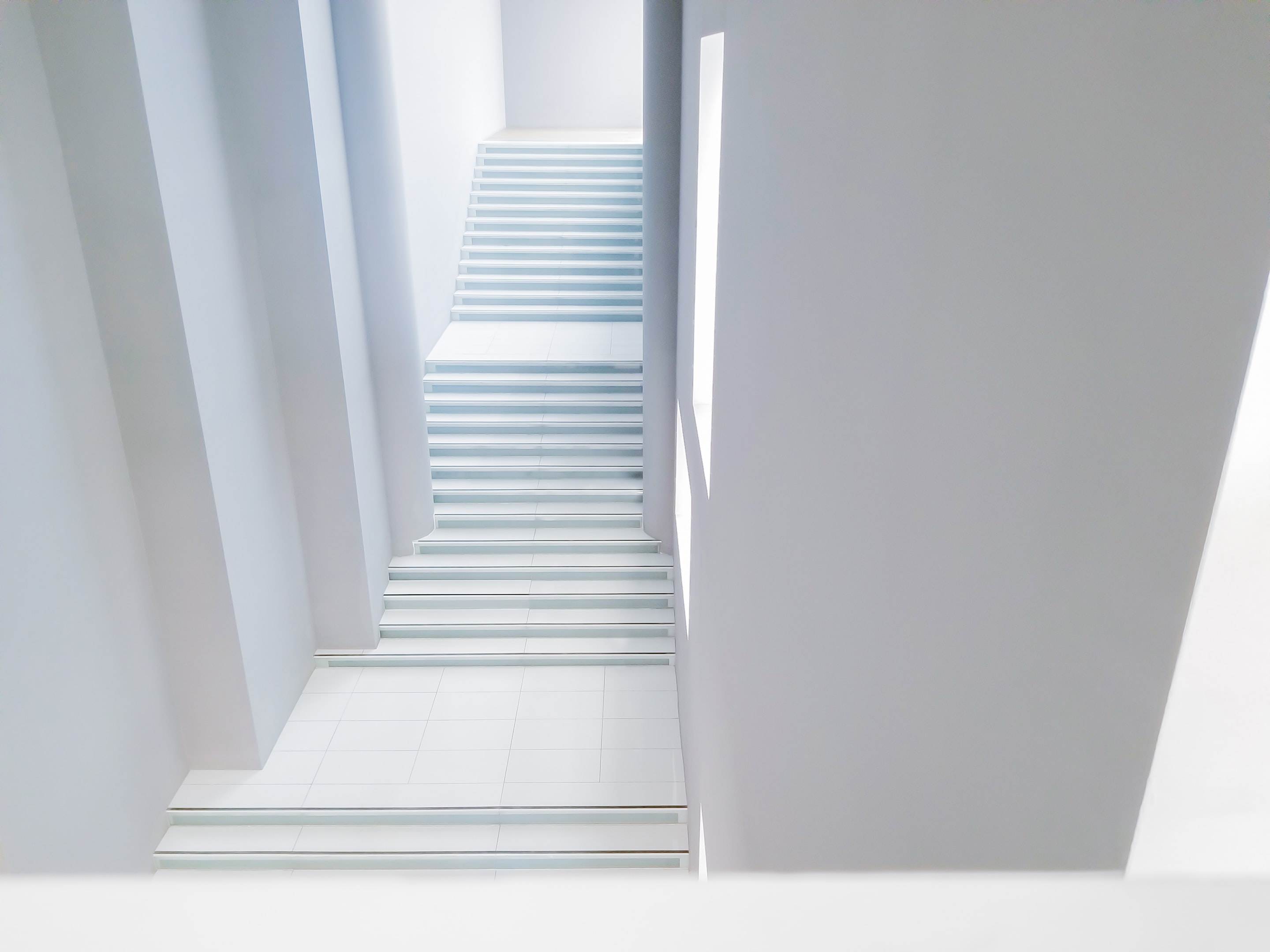 top view of white staircase