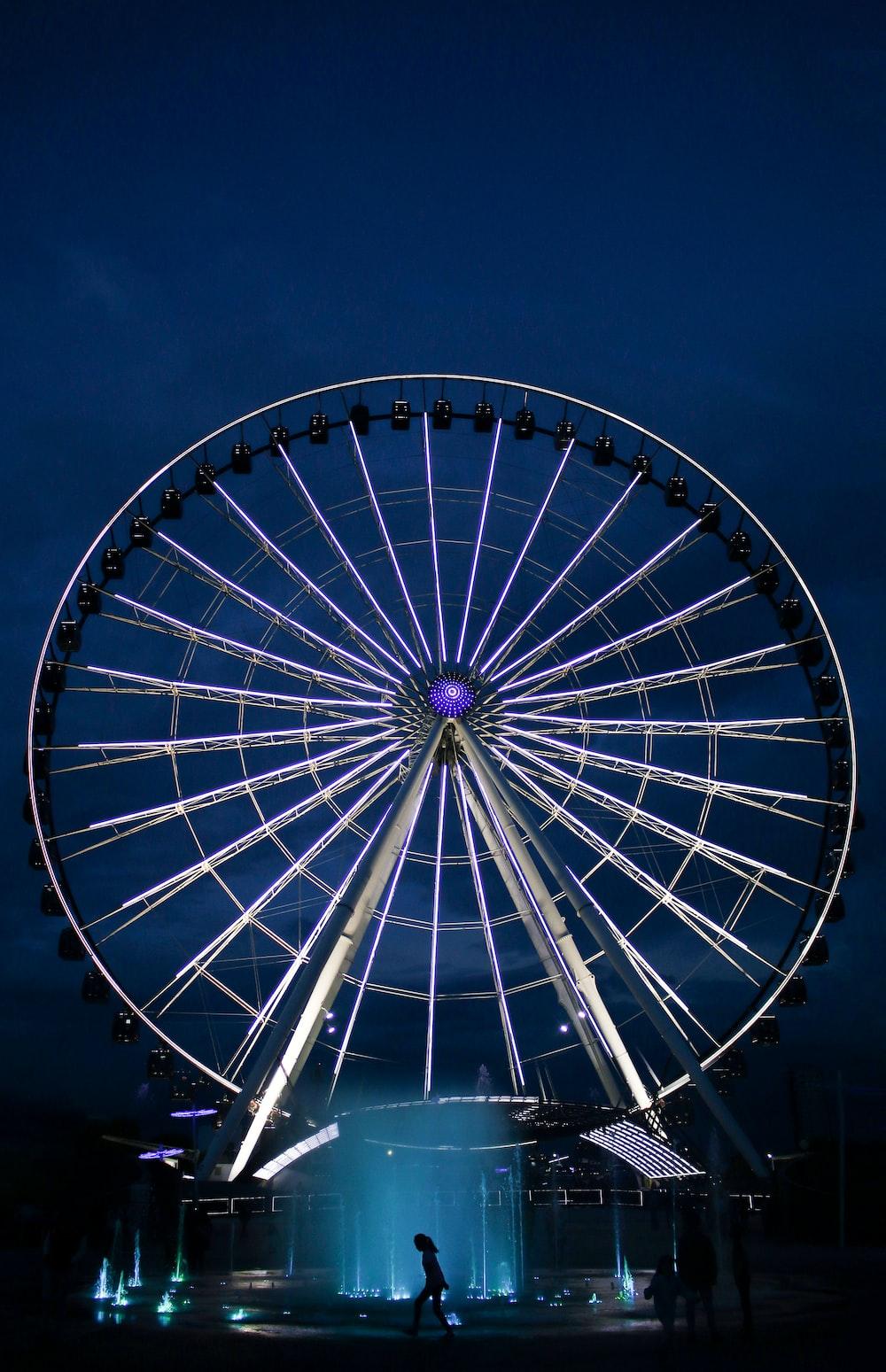 silver ferris wheel during nighttime