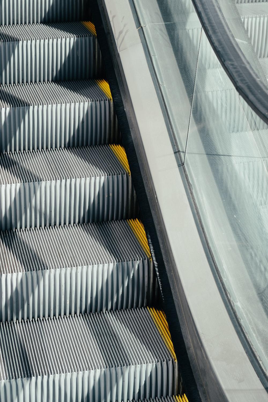 silver and black escalator