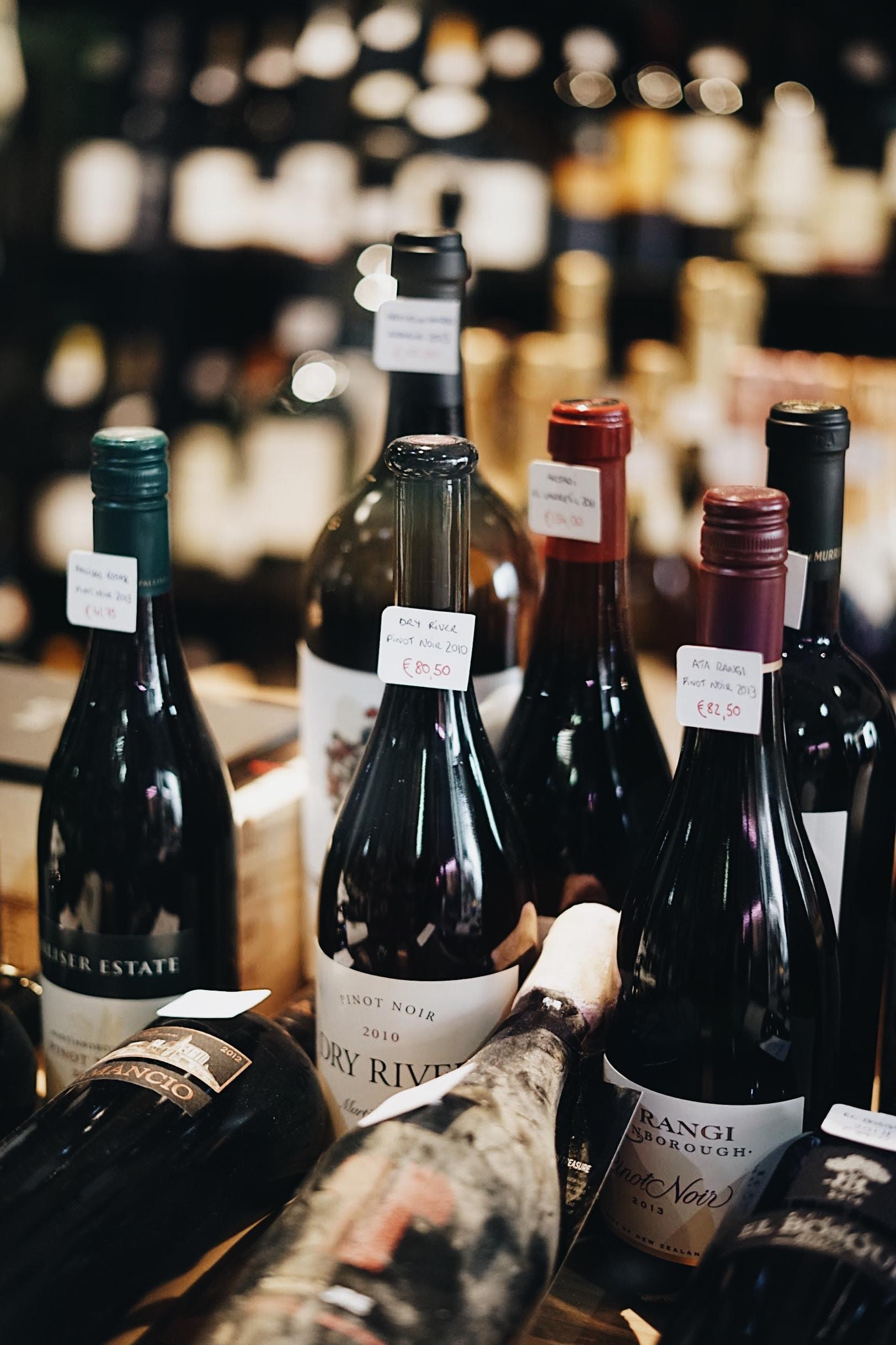 assorted-label glass wine bottle lot