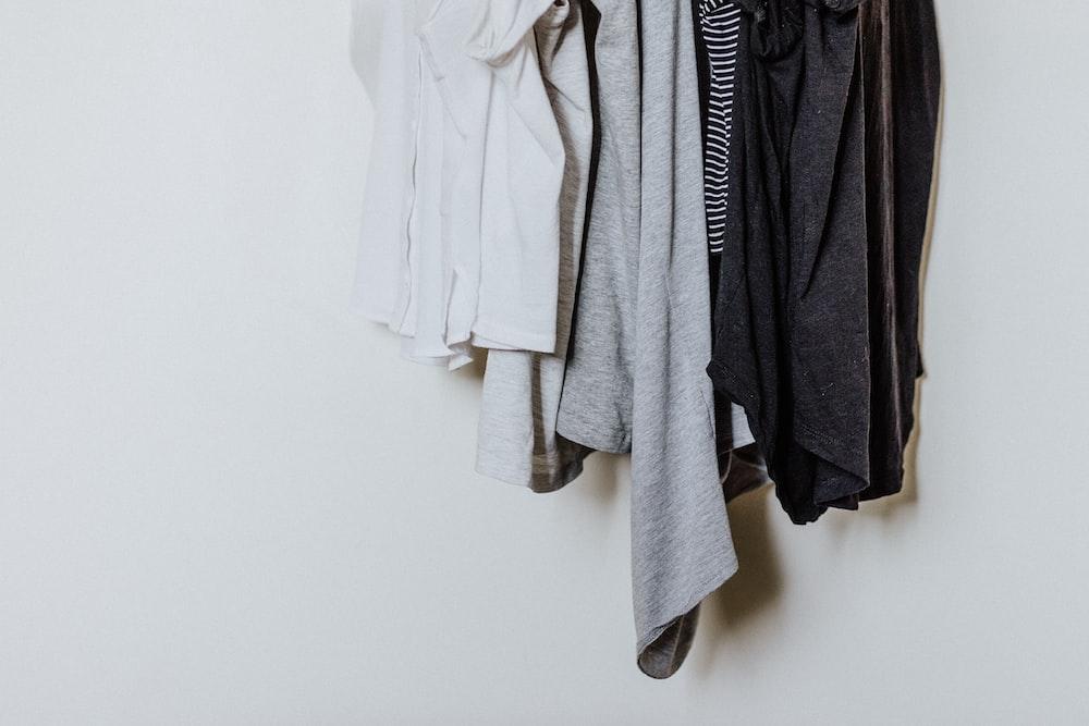 hanged shirts against white background