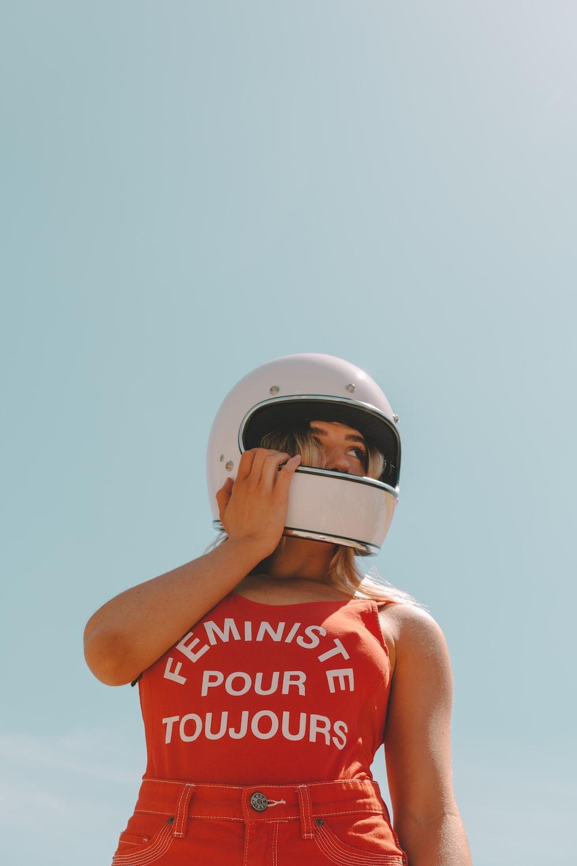 woman wearing helmet