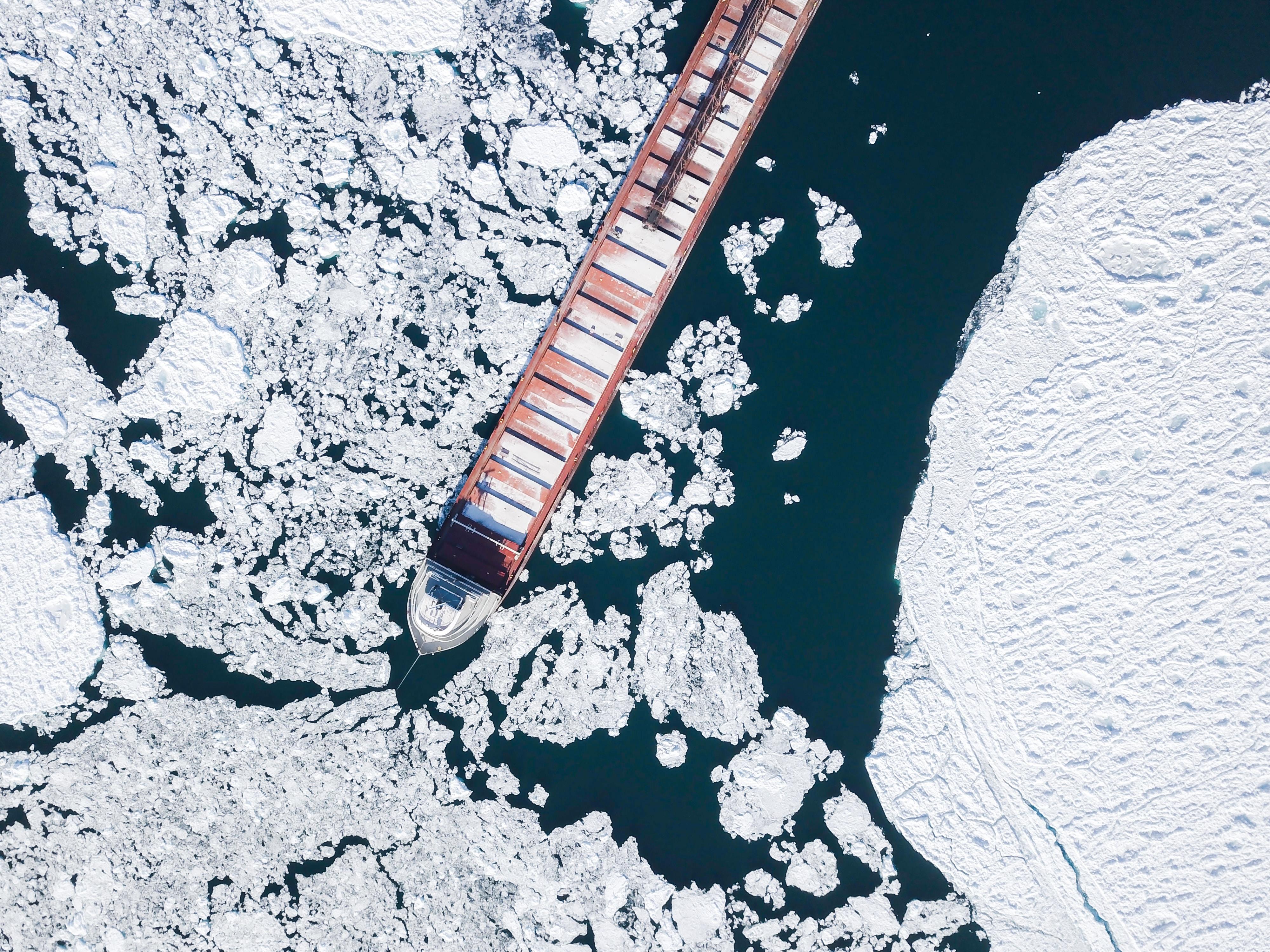 container ship crashing iceberg