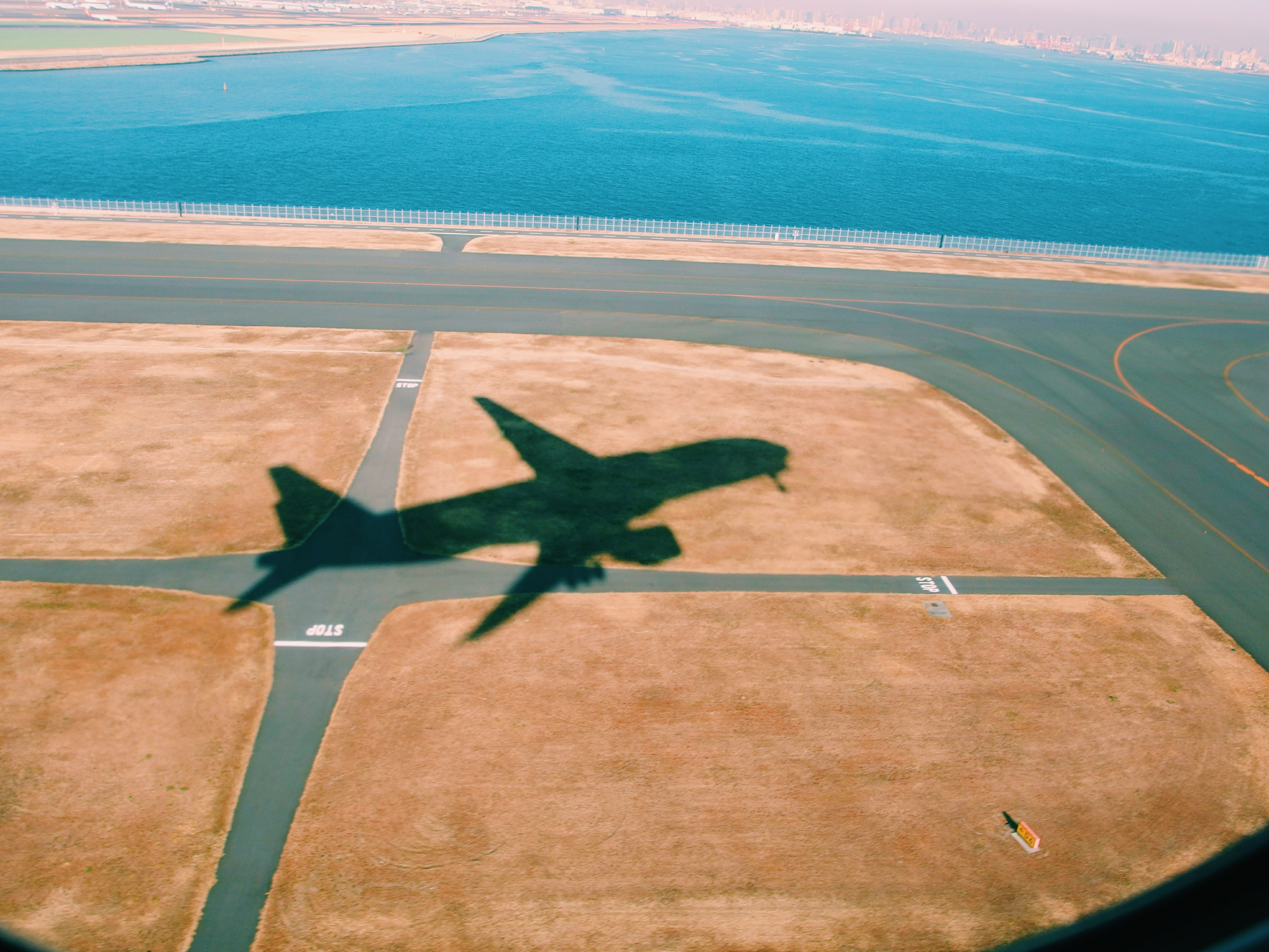 aerial photography of silhouette airplane