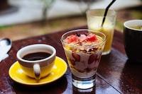dessert serve in clear glass cup