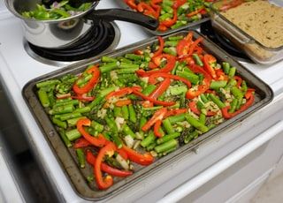vegetable dish on silver tray