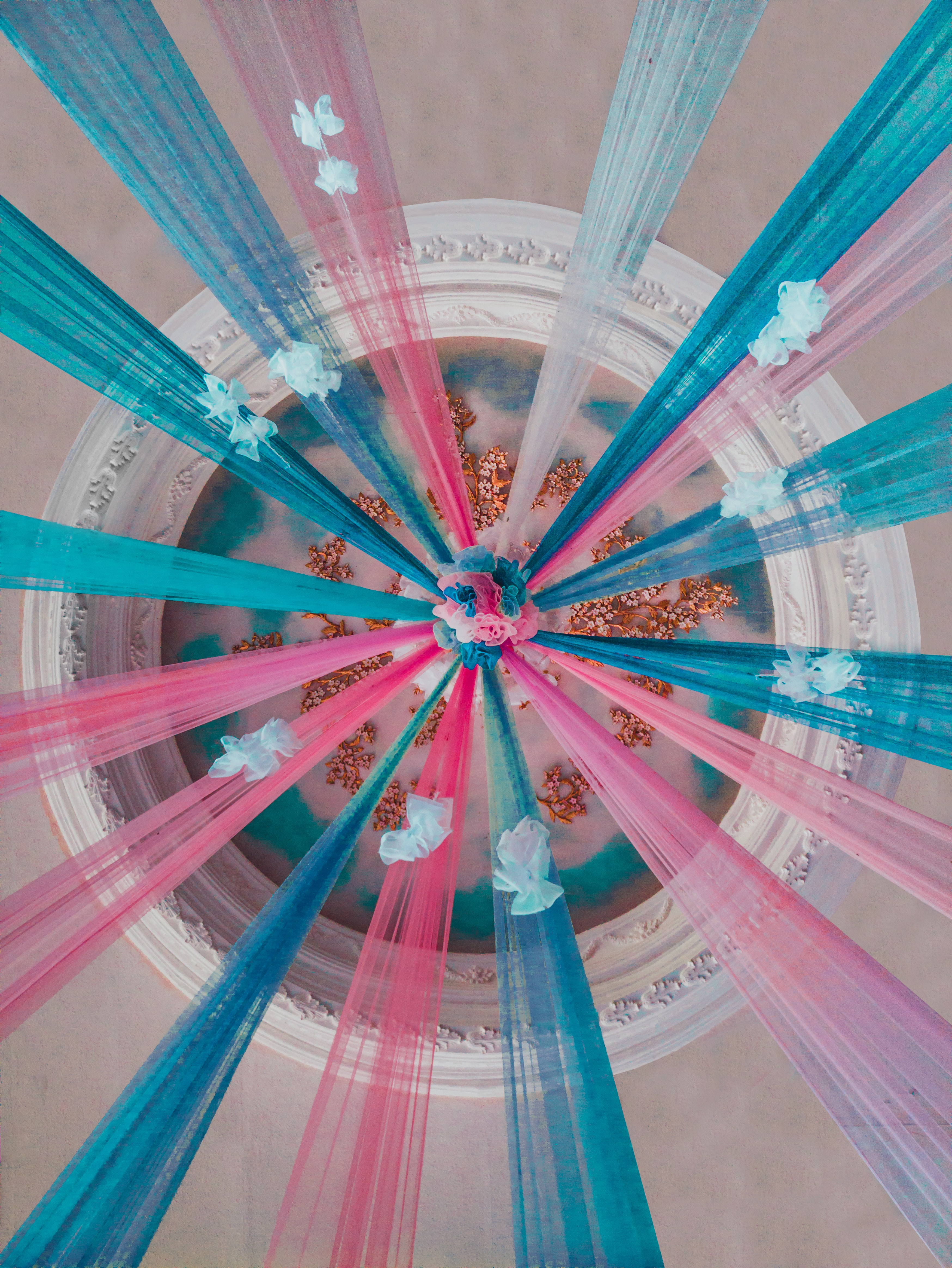 low angle photograph of multicolored ceiling decor