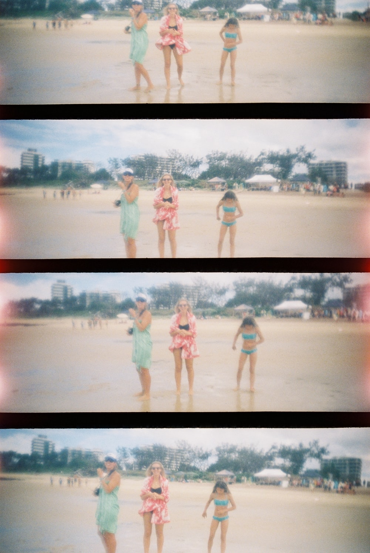 women on beach collage