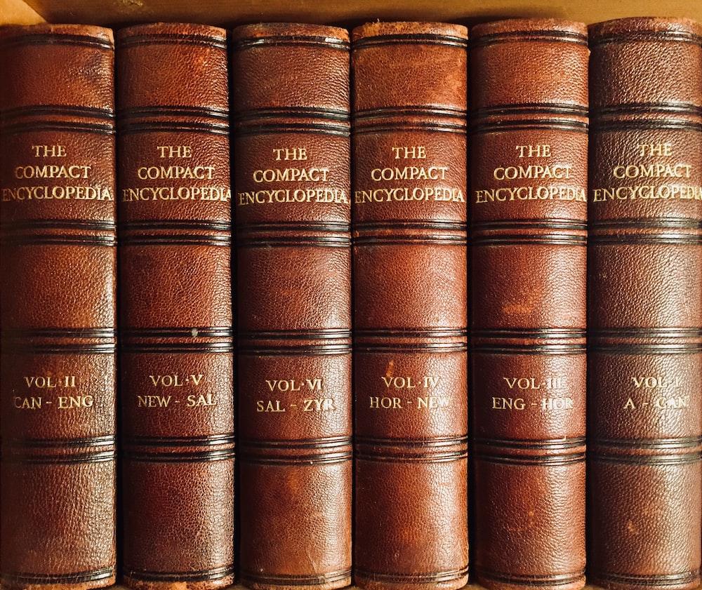brown hardbound books