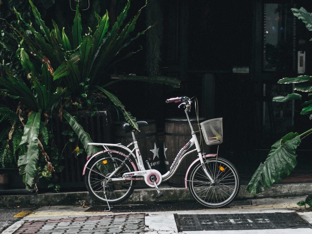 white step through bike parked near the plants