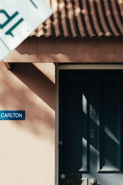 photo of closed blue panel door