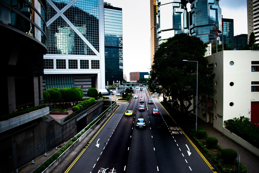 vehicles on road near buildings and structures